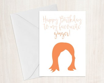 Funny Ginger Birthday Card, Ginger Birthday Card, Funny Birthday Card, Rude Card, Greeting Card, Silly Birthday Card, Ginger Hair Joke Card