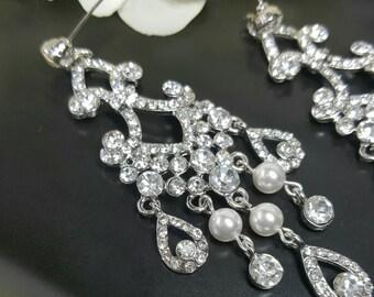 Bridal Chandelier Earrings, Crystal Chandelier Earrings, Swarovski Pearls, Statement Bridal Earring, Vintage Prom Earrings, Crystal Earrings