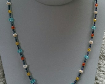 Bicone Crystal Beaded Necklace