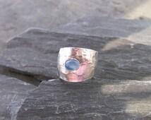 Ribbon Silver ring designed by Stephane de Blaye, sterling silver, blue chalcedony.