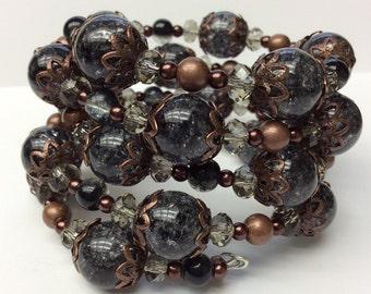 Grey Copper Bracelet, Grey Glass Beaded Bracelet, handmade glass bracelet, Memory Wire bracelet, memory wire jewelry, crackle glass, women's