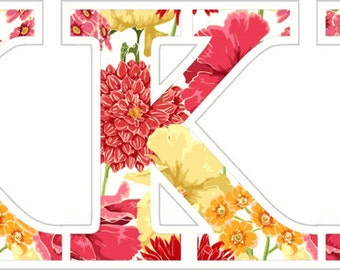 Kappa Kappa Gamma Floral Letter Sticker - 2.5