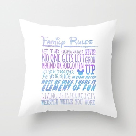 Items similar to our disney family rules.. throw pillow ...