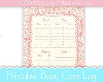 Baby care log | Etsy
