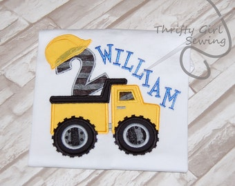 Construction Birthday Shirt.  Personalized with name and number.