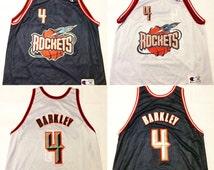 Vintage reversible charles barkley houston rockets champion jersey size 48 mens large xl 90s nba