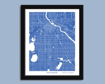 Minneapolis map, Minneapolis city map art, Minneapolis wall art poster, Minneapolis decorative map