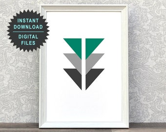 Black And Green | Triangle Art Print | Home Decor Poster | Home Interior Decoration | Abstract Art Print | Modern Style Wall Art