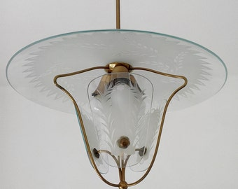 Stilnovo ceiling light chandelier etched glass Angelo Lelli 3 bulbs Made in Italy 1950s