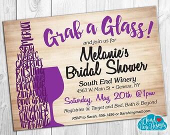 Bridal Shower Invitation - Wine Tasting, Wine Tour - Personalized Invitation- PRINTABLE invitation - DIY - Bride Wine