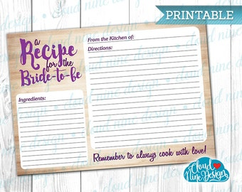 Recipe Card - Bridal Shower Recipe - Printable card - {INSTANT DOWNLOAD} - DIY - Recipe for the Bride - Bride's Stationery