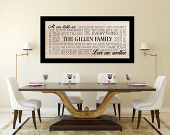 Dinner Table Family Rules Custom Canvas 48x24in, Dining Room/Kitchen Decor, Unique Gift, Personalized Canvas, Family Rules