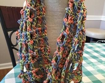 Crocheted Summer Multicolor Cotton Cowl
