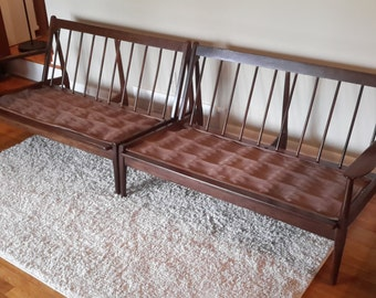 Mid Century Danish Modern Wood Sofa Set
