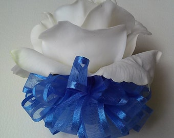 Royal Blue Wrist Corsage- White and Blue Corsage-Prom Corsage-Homecoming Corsage-Ready to Ship Corsage