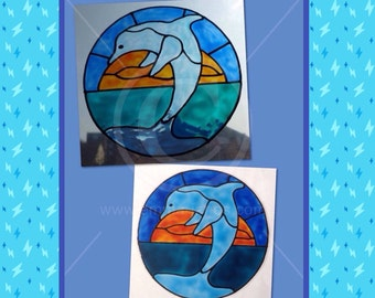 Dolphin window cling hand painted for glass & mirror surfaces, reusable faux stained glass effect, static cling decal, suncatcher, decals