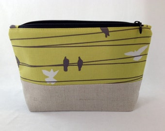 Makeup Bag, Zippered Pouch, Natural Linen with birds on a wire print, colored cotton lining