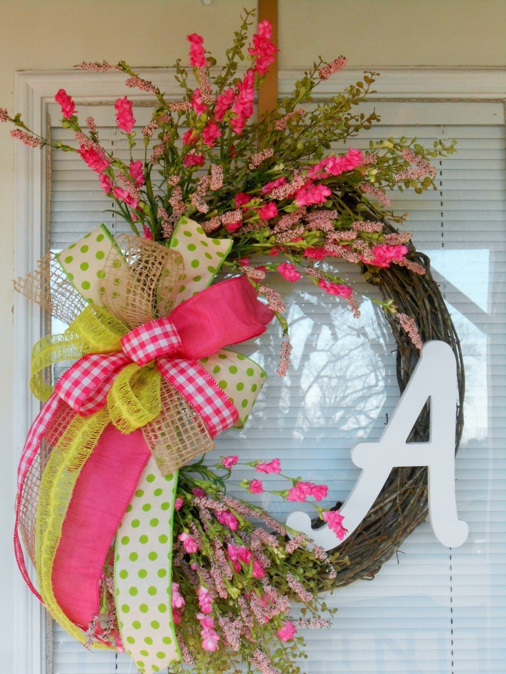 Spring Monogram Wreath Easter Monogram Wreath Double Door