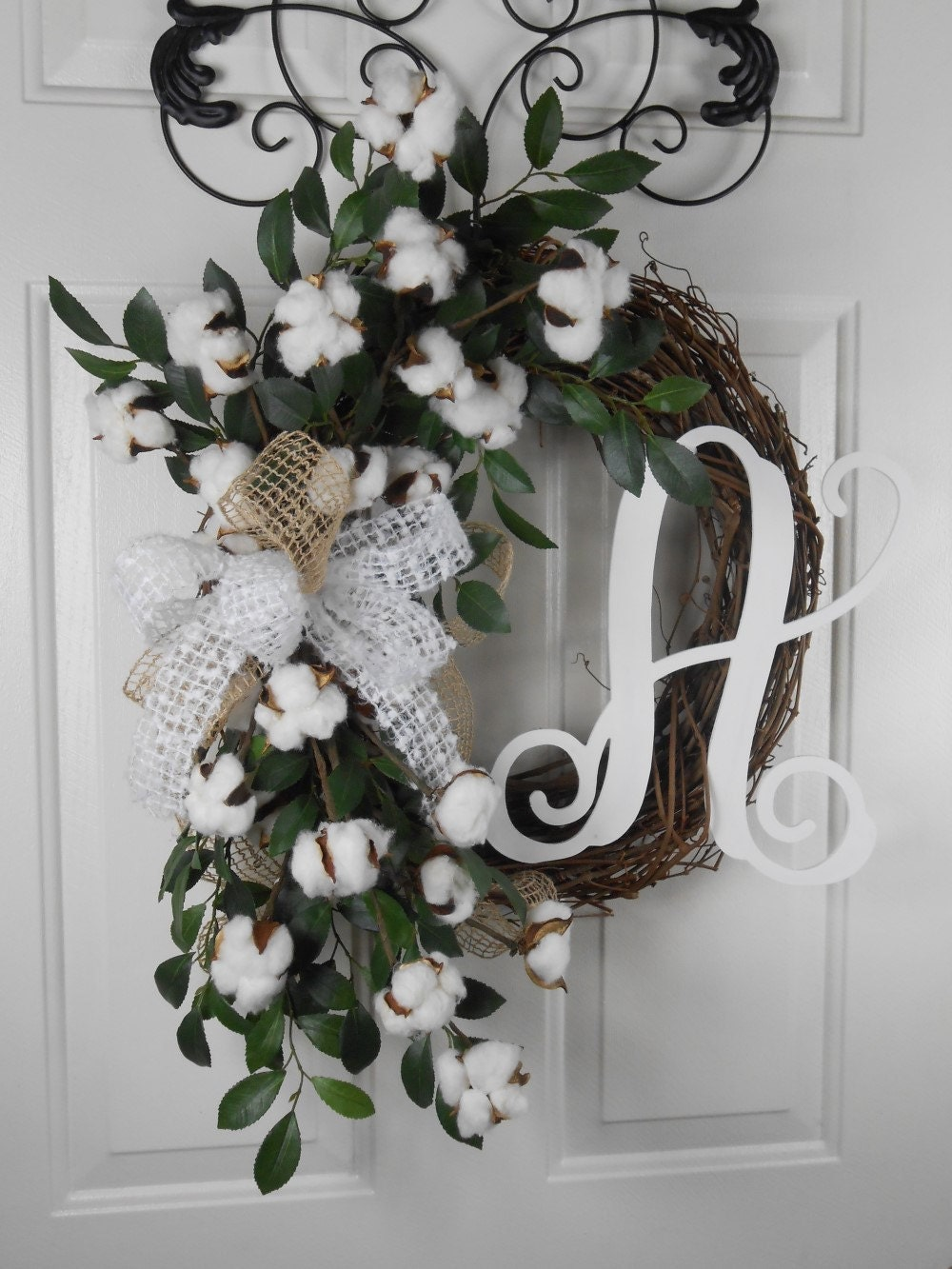 Southern Cotton Wreath Farmhouse Wreath Rustic Wreath