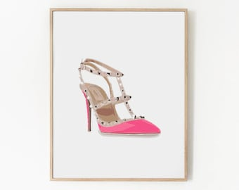 Valentino Rockstud Hot Pink Heel Fashion Illustration | Instant Download Iconic Fashion Print | Printable Art