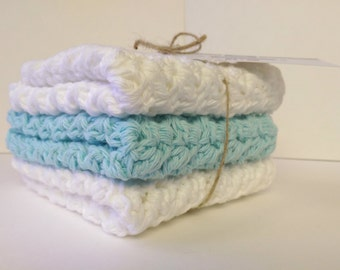 Crochet wash cloth, Cotton wash cloths, Cotton face cloth, Robin's egg blue cloth, Mother's day gift