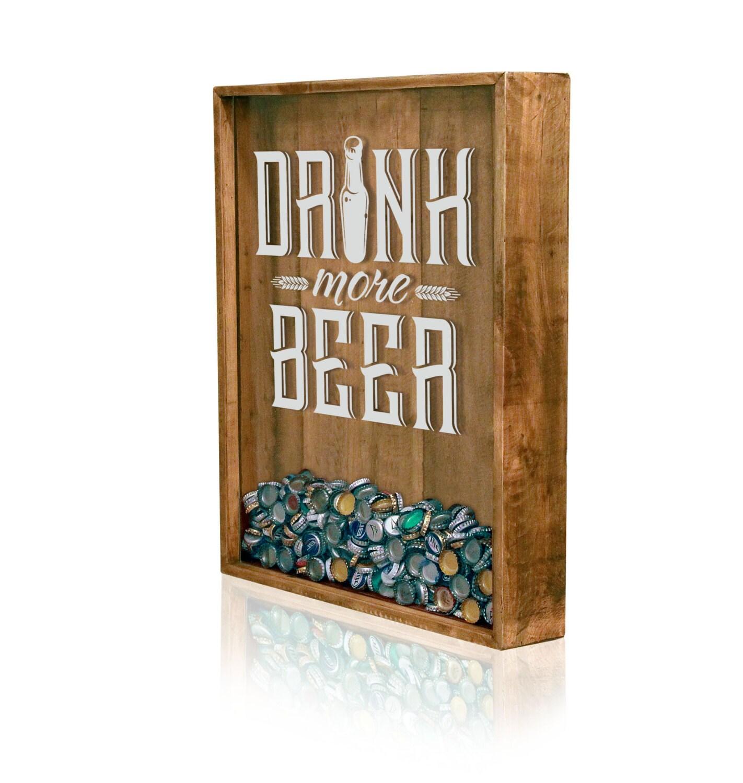 18x24 bottle cap holder beer sign beer cap shadow box for Craft beer typography beer cap shadow box beer cap collector
