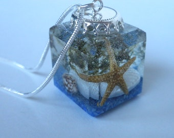 Resin Pendant Necklace!  Clearance! Beach themed cubed resin pendant with a real Starfish!  A whimsical reminder of a visit to the beach!