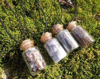 Fur Jar Necklace - Animal Totem Guide Therian Spitit Animal Deer Fox Rabbit Snake Skin