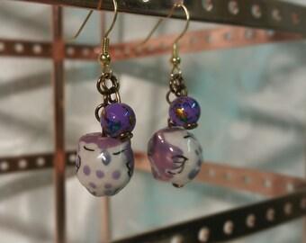 Dangling Owl Earrings