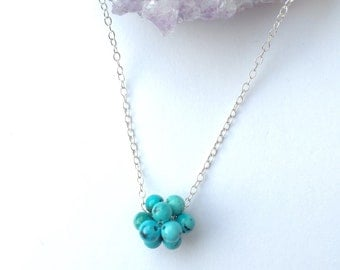 Natural turquoise necklace, December birthstone, sterling silver and turquoise, layering necklace, turquoise beaded bead, gift for her