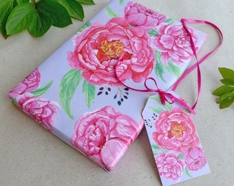 set gift wrapping paper & tags peonies / 3 x