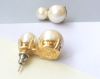 GIVENCHY Vintage Cold Tone Faux Pearl Stud Earrings (1990s)