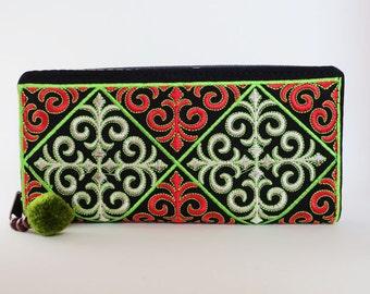 Handmade embroidered zip around wallet [Red/Green]