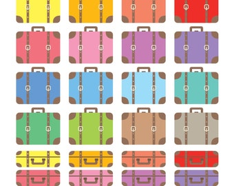 Suitcases Digital Clipart, Vintage Luggage Clipart