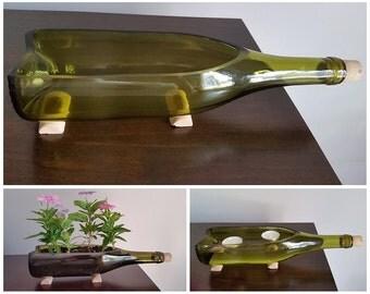 Yellow Wine Bottle Planter, Yellow Wine Bottle Candle Display, Upcycled Wine Bottle, Recycled Wine Bottle, Planter, Wine Bottle, Home Decor