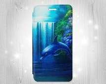 Dolphin iPhone 6S 6 Plus 6+ SE 5 5S 5C 4 Samsung Galaxy S7 Edge S6 Edge Plus S5 Note 5 4 Leather Flip Case