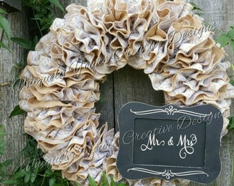 Burlap Wedding Wreath Rustic Burlap Wreath, Mr & Mrs Wreath, Rustic Wedding Wreath, Burlap Ruffle Wreath, Burlap Lace Wreath, Realtor Gift