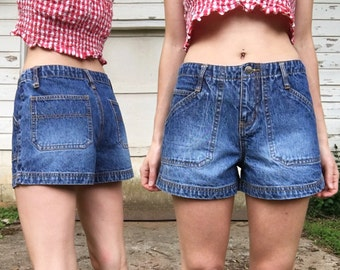 MOVING SALE Vintage 90s Mid High Rise Faded Denim Blue Jean Shorts 3