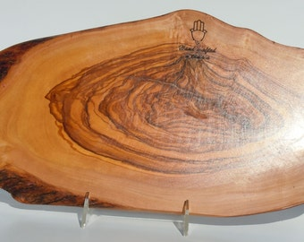 """Olive wood cutting board 17"""",Natural shape with Bark,Unique and heavy duty ,free shipping"""
