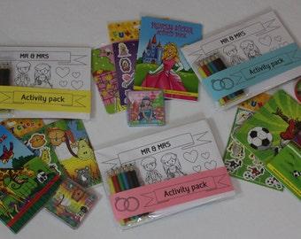 Children's wedding activity packs Princess, Dinosaur, Football, Zoo or Farm - Various colours