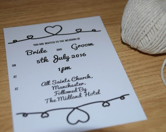 Tie The Knot A6 Wedding Invitation.