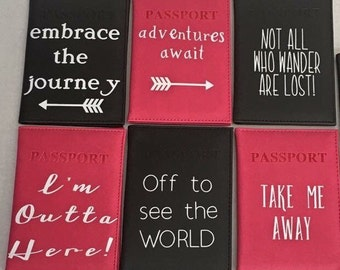 Handmade decal passport covers, decal vinyl passport holder, passport cover, custom passport holders, inspirational passport covers