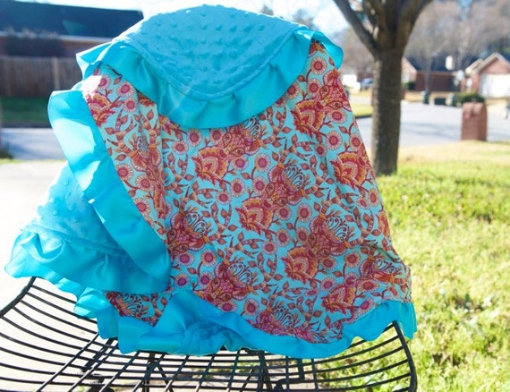 Minky baby blanket-Handmade blanket-take home-baby shower gift-tula- red-deer blanket-buck blanket-stag blanket-turquoise-soft-ribbon