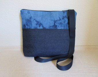 Shoulder bag in tejano and tejano faded handmade.