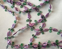 Purple Rococo Trim, Garland Trim, Lavender Rosette Trim, 18th Century Trim, Purple Roses, Lilac Roses