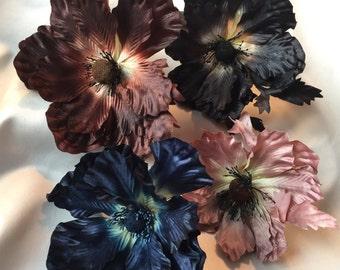 Choice of Vintage Millinery Flowers, Brown, Black, Pink, Navy