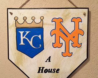 Kansas city home plate sign, mets home plate sign, house divided sign, house divided home plate sign, baseball sign, gift for him