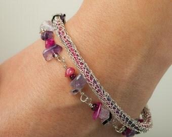 Amethyst bracelet, viking knitted bracelet, gemstones jewelry, natural stones jewelry, wire knitted bracelet, layered bracelet, pink, violet