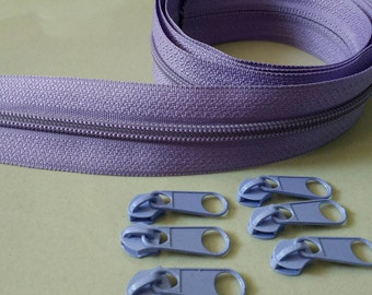 3 Yards  Zipper #5 with Free 6 Pulls, Purple Zipper by the Yard, Zipper # 5, Zipper by the Yard.