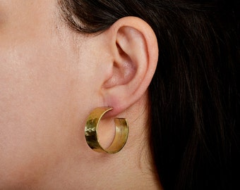 Small thick hoops, hammered wide hoops, brass chunky earrings, artisan stud hoops, hoops under 30, rustic jewelry.